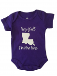 LSU Infant Purple Hey Y'all Onesie