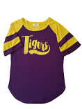 LSU Women's Distressed Soft Touch Bamboo Football Top