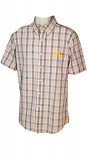 LSU Men's Antigua Plaid Crew Button Up Shirt