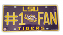 LSU Tigers Metal #1 Fan License Plate - Purple