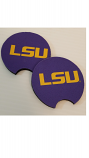 LSU Tigers Neoprene Car Coasters 2-pk - Purple Tiger Eye