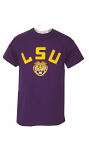 LSU Men's Purple Bayou Retro Helmet Logo Cotton T-Shirt