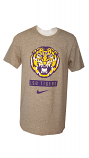 Nike BCS LSU Men's Heather Grey Retro Tiger Dri-Fit Cotton Tee