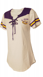 LSU Women's White Lace Up Football Jersey Top