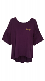 LSU Women's Dark Purple Ruffled Sleeve Bamboo Top