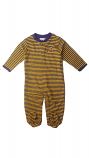 LSU Purple & Gold Striped Footed Romper