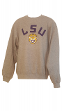LSU Adult Grey Crew Neck Retro Helmet Logo Sweat Shirt