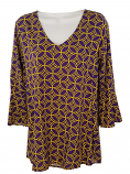 Game Day Women's Purple & Gold Natalia Ruffle Sleeve Top