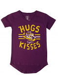 LSU Girl's Purple Hi Lo Hugs &Tiger Kisses Tee