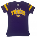 LSU Youth Purple Vintage Football V-Neck Tee