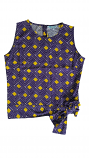 Game Day Purple & Gold Women's Raleigh Sleeveless Top with Tie