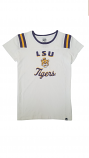 LSU 47 Brand Women's White Huddle Beanie Tiger Football Jersey Top