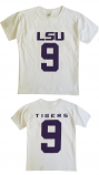 Bayou LSU Youth White #9 Football T-Shirt
