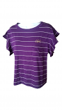 LSU Women's Purple & White Striped Tri-Blend Flutted Sleeve Top
