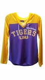 GIII 4her Women's Purple & Gold Long Sleeve Jersey V-Neck Lace-Up Top