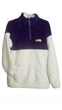 LSU Women's Purple & White Super Soft Sherpa Half-Zip Pullover Jacket