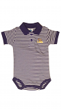 LSU INFANT Purple & White Striped Game Day Polo Onesie