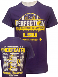 LSU Retro Brand YOUTH 2019 National Championship UNDEFEATED SCHEDULE T-Shirt - Purple