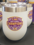 LSU National Championship Stemless Stainless Steel Wine Glass - White