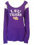 LSU 5th & Ocean Long Sleeve Distressed Tee - Purple & White