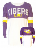 5th & Ocean LSU Women's White Spirit Football Boyfriend Jersey Top
