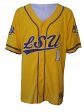 Colosseum LSU Men's Gold Turf N' Turf #1 Baseball Jersey