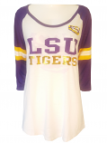 5th & Ocean LSU Women's Foiled Cutie Jersey Style 3/4 Sleeve Top