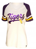 47 Brand LSU Women's White Purple Foil Baseball Tee