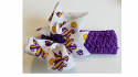 Gameday Purple and Gold Paw and Fleur de Lis Printed Bow on Purple Stretch Headband