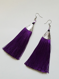 Game Day Flying Colors Long Purple Tassel Earrings