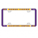 LSU Tigers National Champions Geaux Tigers THIN Plastic License Plate FRAME