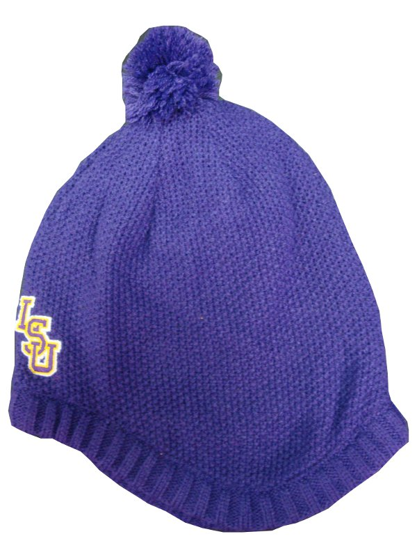 LSU Tigers Purple Toddler Knit Cap with PomPom