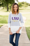 "LSU Women's Grey & White Color Block ""Calling the Shots"" Top"
