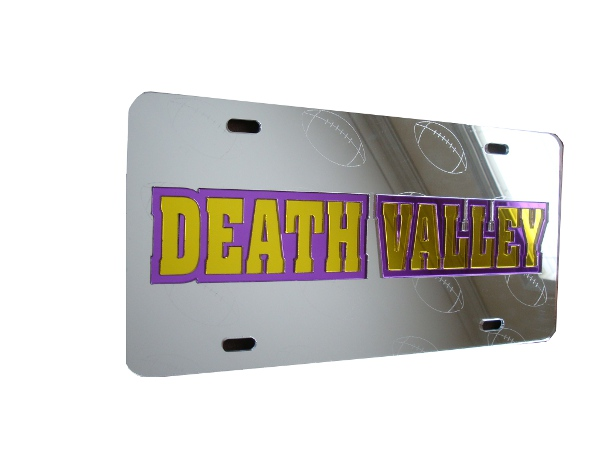 LSU Tigers Laser Cut Death Valley Football Mirrored License Plate - Silver