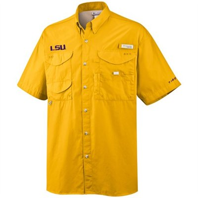 Columbia LSU Tigers Men's Cotton Bonehead PFG Shirt - Gold