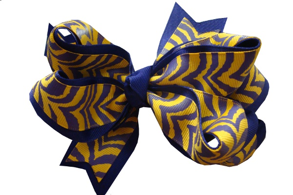 Purple and Gold Tiger Stripe Large Double Wrapped Hair Bow