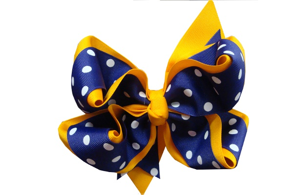 Purple and Gold X-Large Double Wrapped Polka Dot Hair Bow