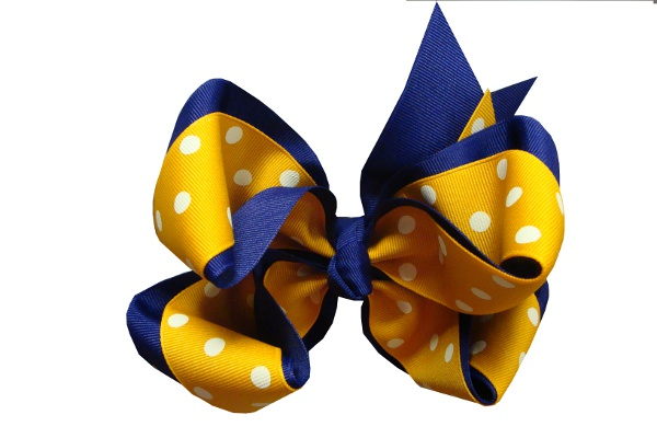 Purple and Gold X-Large Double Wrapped Hair Bow #64