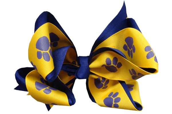 Purple and Gold X-Large Tiger Paw Hair Bow