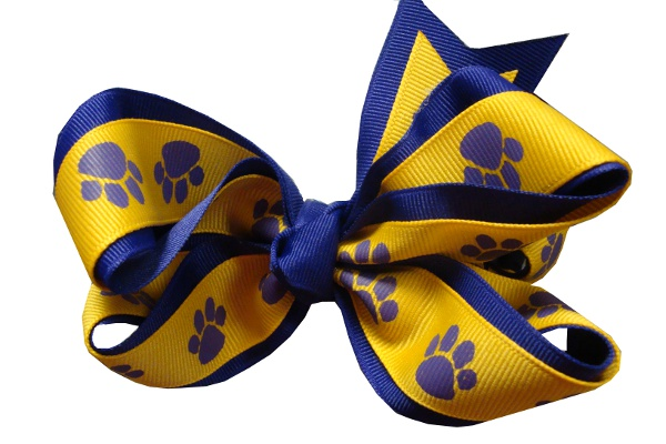 Purple and Gold Tiger Paw Hair Bow