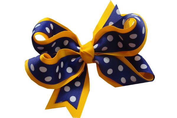 Purple and Gold Flat Polka Dot Hair Bow #27b