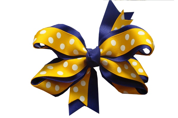 Purple and Gold Flat Polka Dot Hair Bow