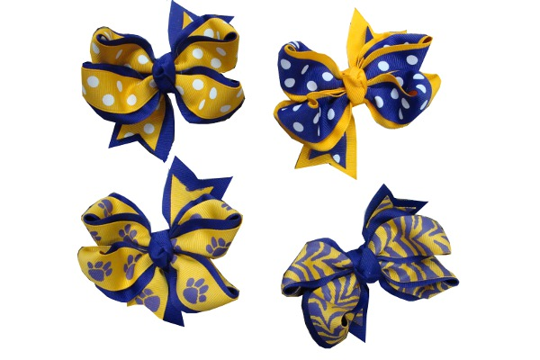 "Purple and Gold Medium 4"" Double Wrapped Grograin Bow (price per bow)"
