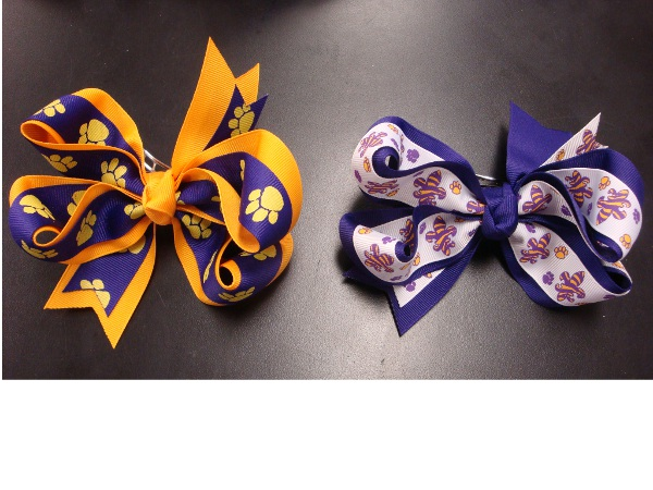 "Purple and Gold Large 5"" Double Wrap Hair Bow (price per bow)"
