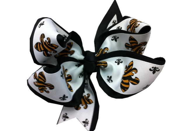 Black and Gold X-Large Fleur de Lis Bow