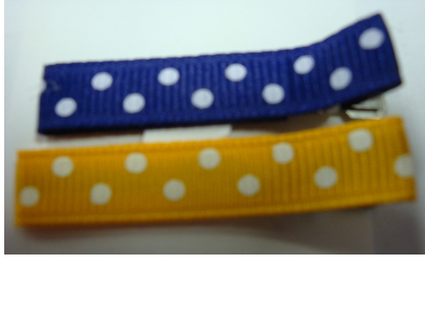 Purple and Gold Set of Polka Dot Hair Clips