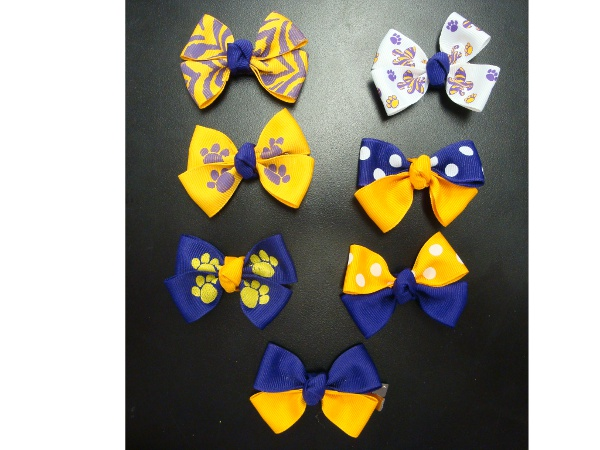 Purple and Gold 2 Inch Clip Bow Tie Hair Ribbons (price per bow)