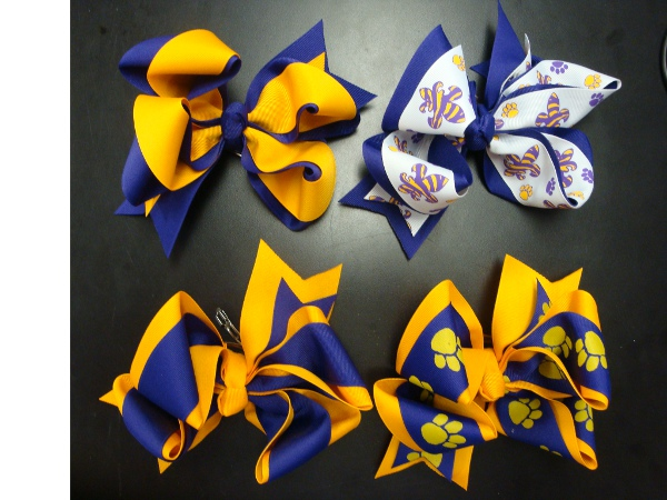 """Purple and Gold 4"""" Medium Double Wrap Bow Barrets (price per bow)"""