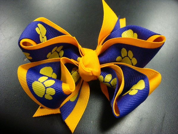"Purple and Gold XL 5 1/2"" Double Wrapped Gold Paw Hair Bow"