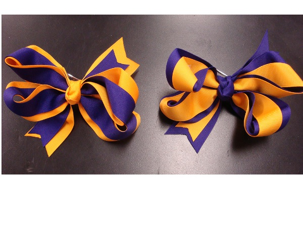 Purple and Gold Large 5 Inch Double Wrap Hair Bow (price per bow)